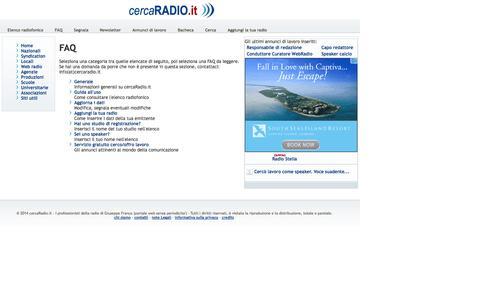 Screenshot of FAQ Page cercaradio.it - FAQ | Table - captured Oct. 3, 2014