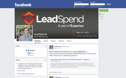 Screenshot of Facebook Page facebook.com - LeadSpend - New York, New York - Email Marketing | Facebook - captured Oct. 22, 2014