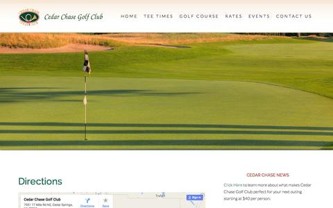 Screenshot of Maps & Directions Page cedarchasegolfclub.com - Directions - captured Dec. 7, 2015