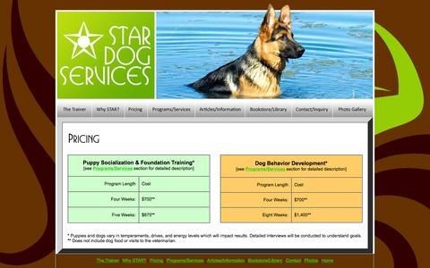 Screenshot of Pricing Page stardogservices.com - STAR Dog Services - Puppy Socialization and Foundation Training, Dog Behavior Development - captured Feb. 3, 2016