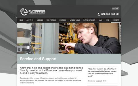 Screenshot of Support Page eurodexx.com - Eurodexx Voice and Data — Communication with Simplicity - captured Sept. 29, 2018