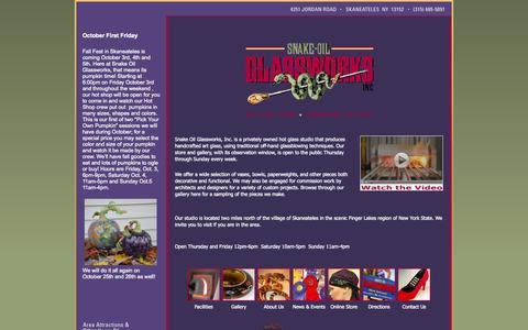 Screenshot of Home Page snakeoilglassworks.com - Snake-Oil Glassworks - Home - captured Oct. 8, 2014