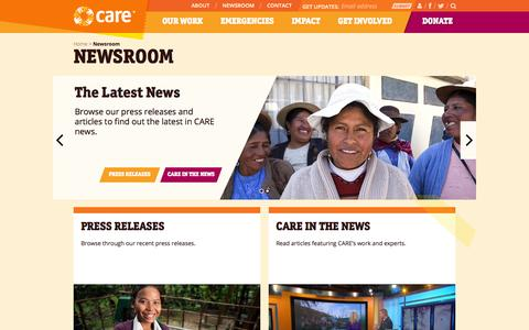 Screenshot of Press Page care.org - Newsroom | CARE - captured Nov. 4, 2014