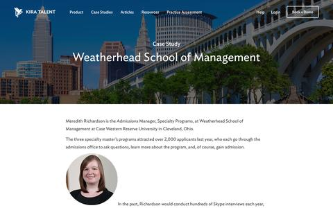 Screenshot of Case Studies Page kiratalent.com - Case Study | Weatherhead School of Management - captured Nov. 10, 2017