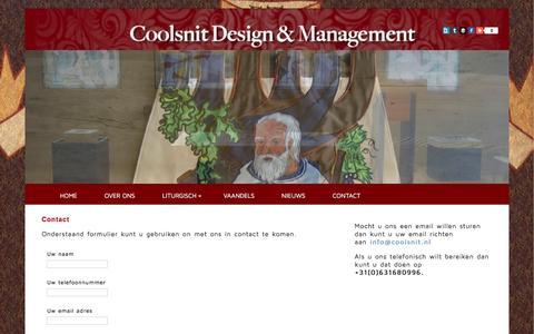Screenshot of Contact Page coolsnit.nl - Coolsnit Liturgisch design en management - Contact - captured Jan. 31, 2016