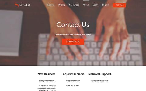 Screenshot of Contact Page smarp.com - Contact Us | Smarp - captured July 13, 2018