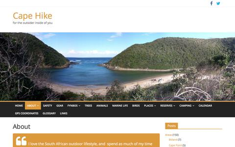 Screenshot of About Page cape-hike.co.za - About Cape-Hike.co.za | Cape Hike - captured May 14, 2016