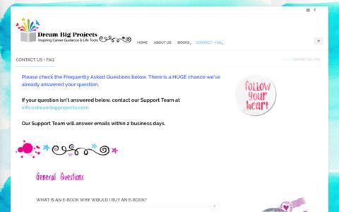 Screenshot of Contact Page dreambigprojects.com - Contact us + FAQ - Dream Big Projects - captured June 5, 2017