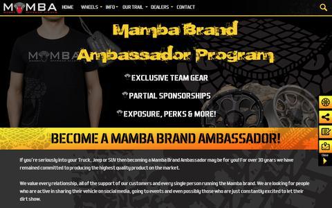 Screenshot of Signup Page mambawheels.com - Mamba Brand Ambassador Program   Mamba Offroad Wheels - captured Jan. 12, 2017