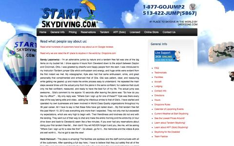 Screenshot of Testimonials Page startskydiving.com - Skydiving Testimonials - captured Jan. 12, 2016