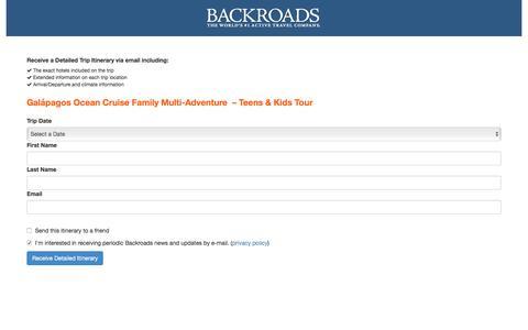 Screenshot of Landing Page backroads.com - MyBackroads - Detailed Itinerary - captured Oct. 25, 2017