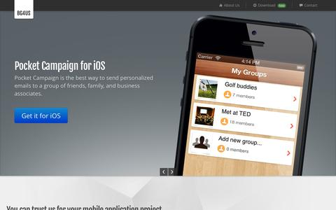 Screenshot of Home Page bg4us.com - BG4US Mobile Software Studio   iOS Development   Android   Windows Mobile - captured Oct. 5, 2014