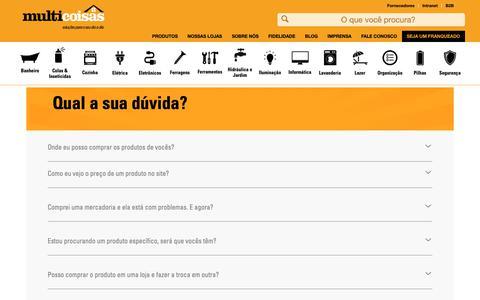 Screenshot of FAQ Page multicoisas.com.br - Atendimento ao cliente – Multicoisas - captured Oct. 17, 2018