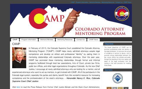 Screenshot of Home Page coloradomentoring.org - CAMP | Colorado Attorney Mentoring Program - captured Oct. 3, 2014