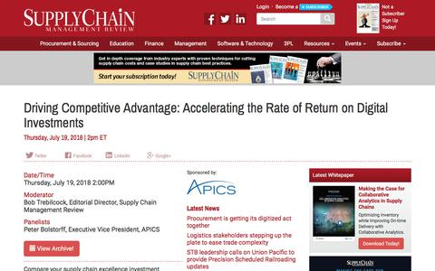 Screenshot of Signup Page scmr.com - Driving Competitive Advantage: Accelerating the Rate of Return on Digital Investments - Supply Chain Management Review - captured Sept. 22, 2018
