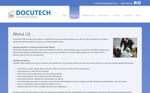 Screenshot of About Page docutechsolutions.co.uk - Manchester's no 1 Photocopier Supplier - captured Oct. 12, 2017