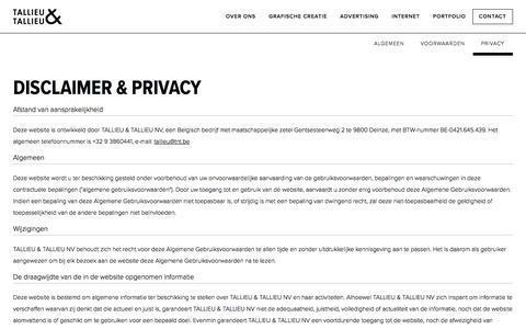 Screenshot of Privacy Page tnt.be - Privacy - Contact - Reclamebureau Tallieu & Tallieu - Deinze - captured Oct. 27, 2017
