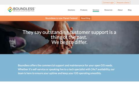 Screenshot of Support Page planet.com - Boundless Support - Planet Federal - captured March 14, 2019