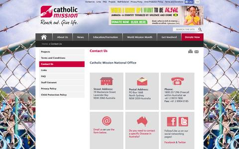 Screenshot of Contact Page catholicmission.org.au - Catholic Mission - Contact Us - captured Sept. 29, 2014