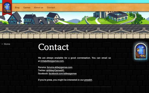 Screenshot of Contact Page abbeygames.com - Contact » Abbey Games • Abbey Games, indie developers of Reus and Renowned Explorers - captured Sept. 22, 2014