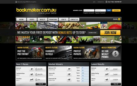 Screenshot of Home Page bookmaker.com.au - Online Betting on Sports & Racing at Bookmaker.com.au - captured Feb. 7, 2016