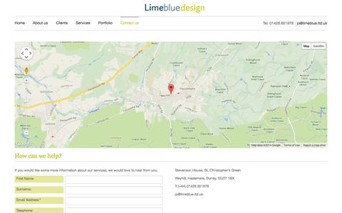 Screenshot of Contact Page limeblue.ltd.uk - How can we help? - captured Oct. 2, 2014