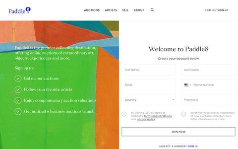 Screenshot of Signup Page paddle8.com - Paddle8 - captured Dec. 7, 2018