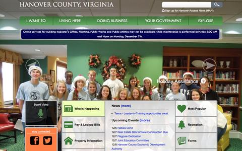 Screenshot of Home Page hanovercounty.gov - Hanover County, Virginia Government - captured Dec. 5, 2015