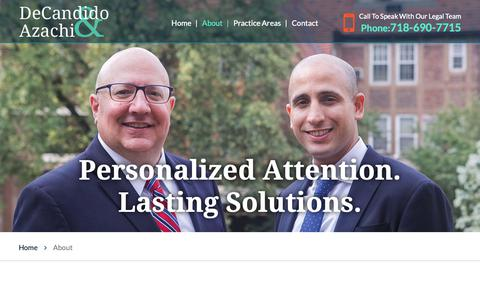 Screenshot of About Page nylawadvisors.com - About | William V. Decandido, PC | Forest Hills, Nassau County - captured Nov. 15, 2018