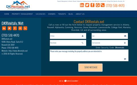 Screenshot of Contact Page dkrentals.net - Property Management in Atlanta, GA | Property Managers Roswell | Real estate investing in Marietta | Homes For Rent Alpharetta | House For Rent Lawrenceville | Cumming | Norcross | College Park | Riverdale, GA | Stone Mountain - captured Nov. 23, 2016