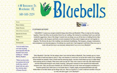 Screenshot of Testimonials Page bluebellsdesigns.com - Customer Testimonials - captured Oct. 5, 2014