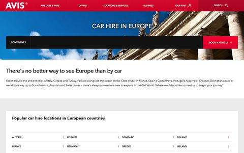 Screenshot of avis.co.uk - Car hire in Europe with Avis premium car rentals - captured Dec. 25, 2017