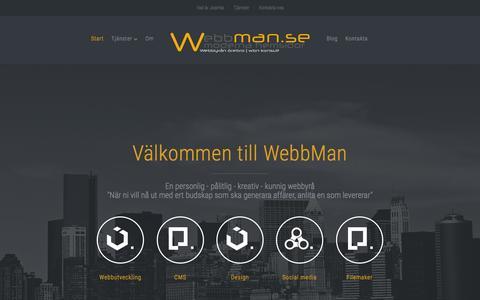 Screenshot of Home Page webbman.se - WebbMan - en webbyrå som kan joomla - wordpress CMS för levande moderna hemsidor - captured Jan. 27, 2015