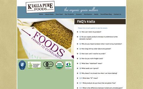 Screenshot of FAQ Page kiallafoods.com.au - FAQ's kialla - Kialla Pure Foods - captured Oct. 6, 2014