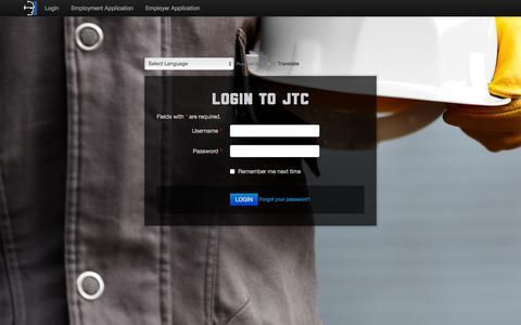Screenshot of Login Page jtctrades.com - JTC Tradesmen - captured Feb. 3, 2016