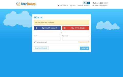 Screenshot of Login Page fareboom.com - Sign In - captured May 10, 2019