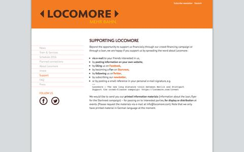 Screenshot of Support Page locomore.com - Locomore - Support - captured May 21, 2016
