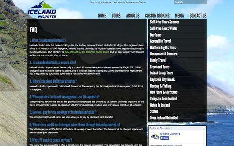 Screenshot of FAQ Page icelandunlimited.is - FAQ « Iceland Unlimited Iceland Unlimited - captured Oct. 6, 2014