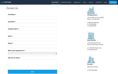 Screenshot of Contact Page gocanvas.com - Contact Us - captured Dec. 9, 2017