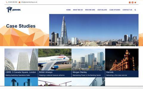 Screenshot of Case Studies Page powertesting.co.uk - Case Studies - Power Testing - captured Sept. 29, 2018