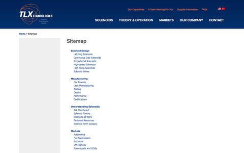Screenshot of Site Map Page tlxtech.com - Sitemap | TLX Technologies - captured Oct. 7, 2014