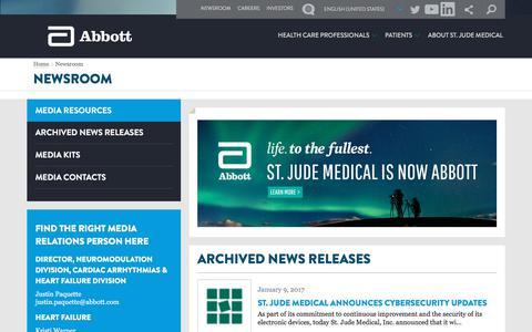 Screenshot of Press Page sjm.com - St Jude Medical - Newsroom - captured April 12, 2018