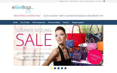 Screenshot of Home Page egunbags.com - Gun Purses, Concealed Carry Purses and Gun Holster Purses. Concealed Carry Designer Handbags. Gun Holster Handbags and Locking Conceal Carry Pockets. Men and Women Concealed Cary Gun Purses and CCW accesories - captured Sept. 4, 2015