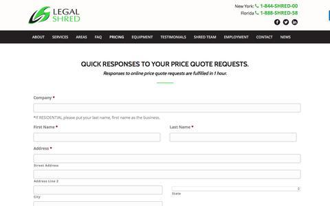 Screenshot of Pricing Page legalshred.com - Pricing - Legal Shred - captured Nov. 6, 2016
