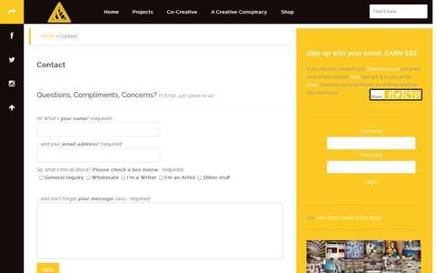 Screenshot of Contact Page aplombclothing.com - Contact | Aplomb & The Creative Conspiracy - captured Oct. 4, 2014