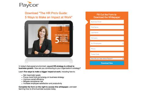 Screenshot of Landing Page paycor.com - The HR Pro's Guide: 5 Ways to Make a Bigger Impact at Work | Paycor - captured Aug. 19, 2016