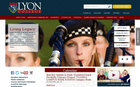 Screenshot of Home Page lyon.edu - Lyon College - captured July 11, 2014