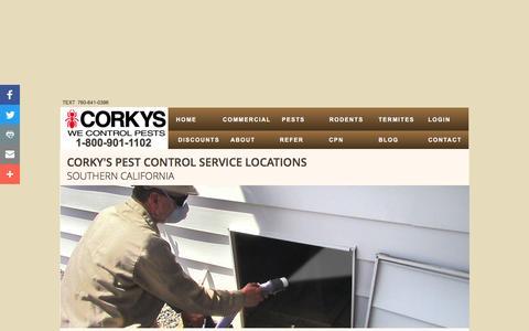 Screenshot of Locations Page corkyspest.com - Corky's Pest Control | Contact Us - captured Nov. 5, 2016