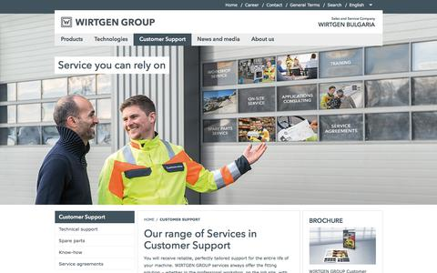 Screenshot of Support Page wirtgen-group.com - Our range of Services in Customer Support - WIRTGEN BULGARIA - captured Feb. 12, 2018