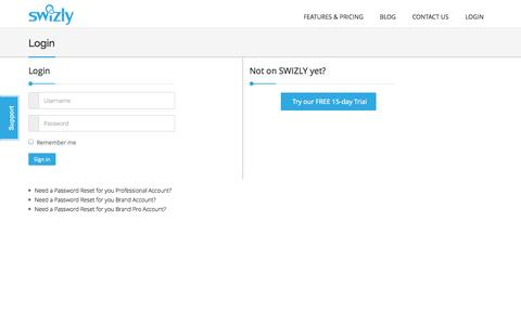 Screenshot of Login Page swizly.com - SWIZLY 3.0 | Login - captured Sept. 30, 2014